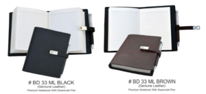 BD 33 ML Black Genuine Leather Premium Notebook With Swarovski Pen