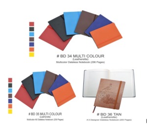 BD 34 & 35 Multi Colour and BD 36 TAN Leatherette A 5 Designer Dateless Notebook 200 to 296 Pages