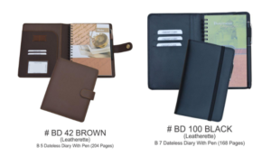 BD 42 Brown Leatherette and BD 100 Black Leatherette With Pen