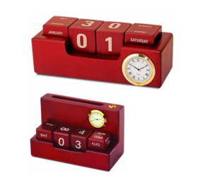 Wooden melamine finish executive table top calendar with clock and space for visiting cards, pens