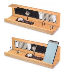 Wooden utility table top with lifetime calendar, space for visiting cards, keys, watch, mobile, pens etc