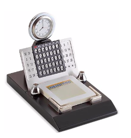 Stainless steel lifetime calendar with memo pad and pen stand