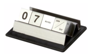 Stainless steel lifetime calendar with space for keeping visiting cards