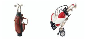 Miniature Golf Club Bags Made in Leatherette with Golf Accessories