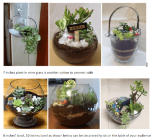 Ceramic Glass Pots With Natural Plants