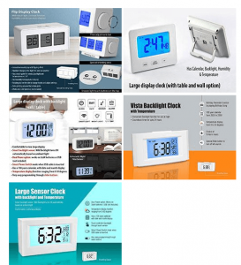 Digital desk clocks with large displays