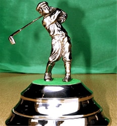 Nickel Plated Brass Bowl with Golfer