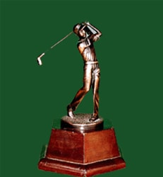 Wood Base Bronze Finish Young Golfer