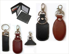 Leather Gift Wallet and Keychains